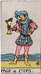 Page of Cups. Rider Waite Tarot.