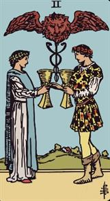 Two Of Cups. Rider Waite Tarot.